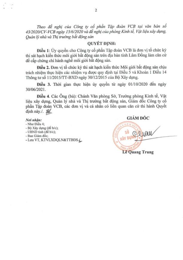 QD uy quyen cuae So xay dung Lam Dong 2 0928070888 LỚP HỌC CHỨNG CHỈ MÔI GIỚI BĐS TẠI HẢI DƯƠNG 2020